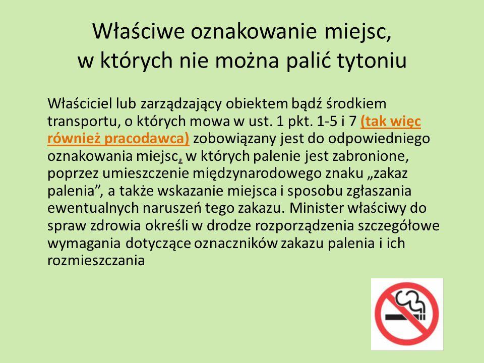 Właściwe oznakowanie miejsc, w których nie można palić tytoniu Właściciel lub zarządzający obiektem bądź środkiem transportu, o których mowa w ust. 1