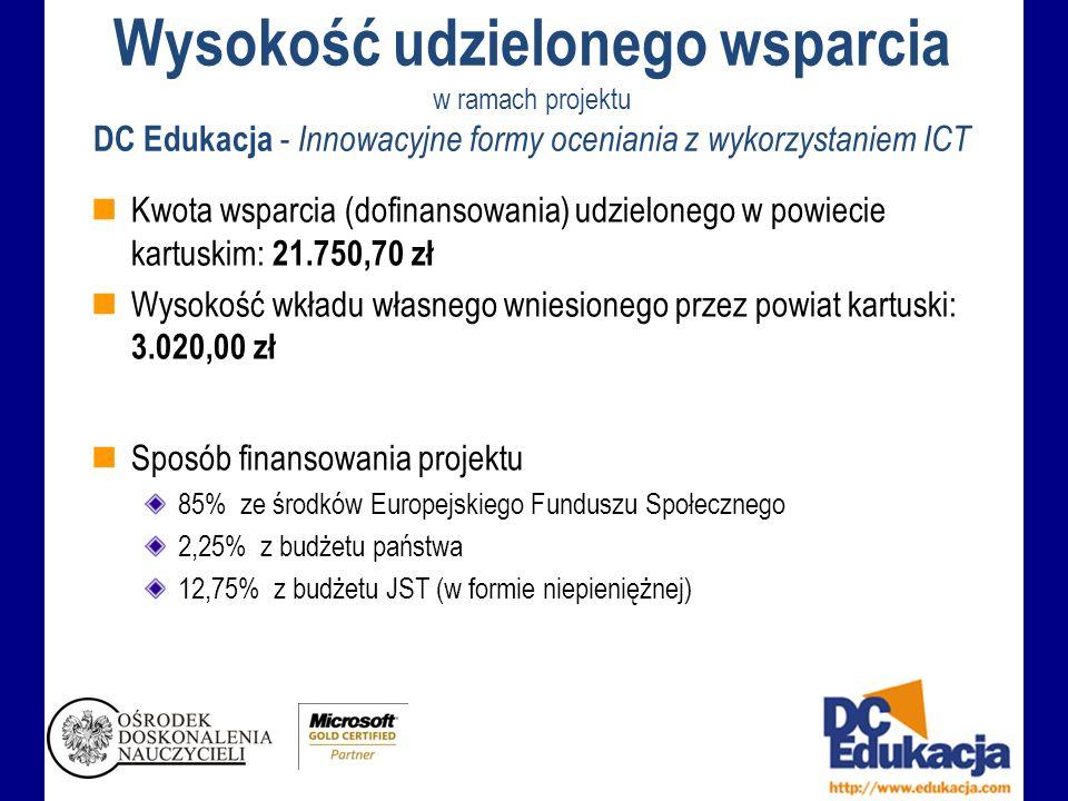 Wysokość udzielonego wsparcia w ramach projektu DC Edukacja - Innowacyjne formy oceniania z wykorzystaniem ICT Kwota wsparcia (dofinansowania) udzielonego w powiecie kartuskim: 21.750,70 zł Wysokość wkładu własnego wniesionego przez powiat kartuski: 3.020,00 zł Sposób finansowania projektu 85% ze środków Europejskiego Funduszu Społecznego 2,25% z budżetu państwa 12,75% z budżetu JST (w formie niepieniężnej)