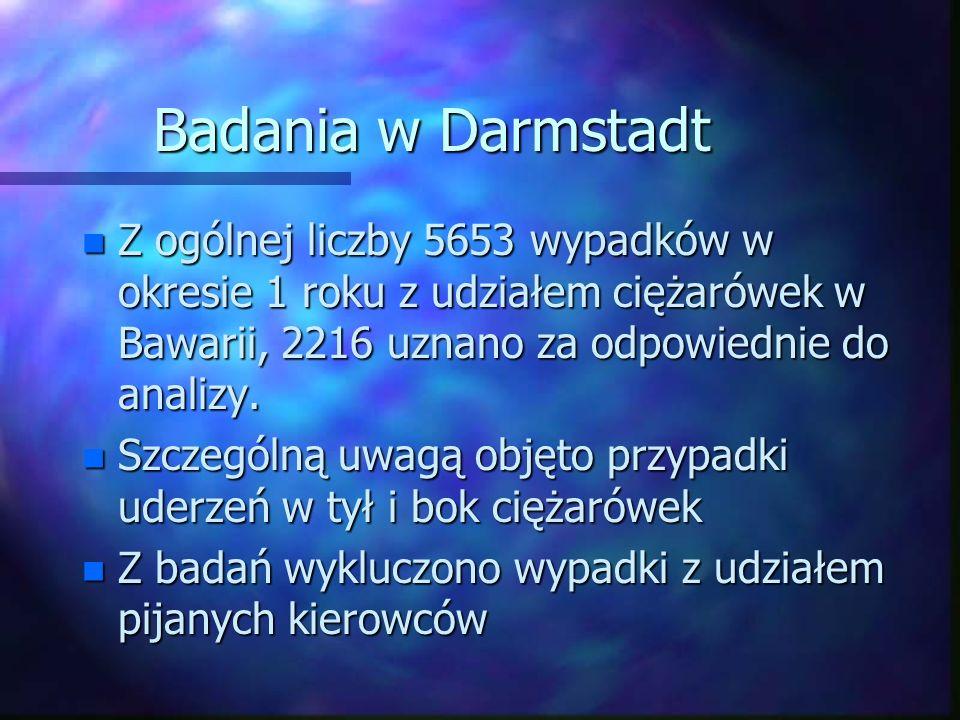 Badania w Darmstadt n Z ogólnej liczby 5653 wypadków w okresie 1 roku z udziałem ciężarówek w Bawarii, 2216 uznano za odpowiednie do analizy. n Szczeg