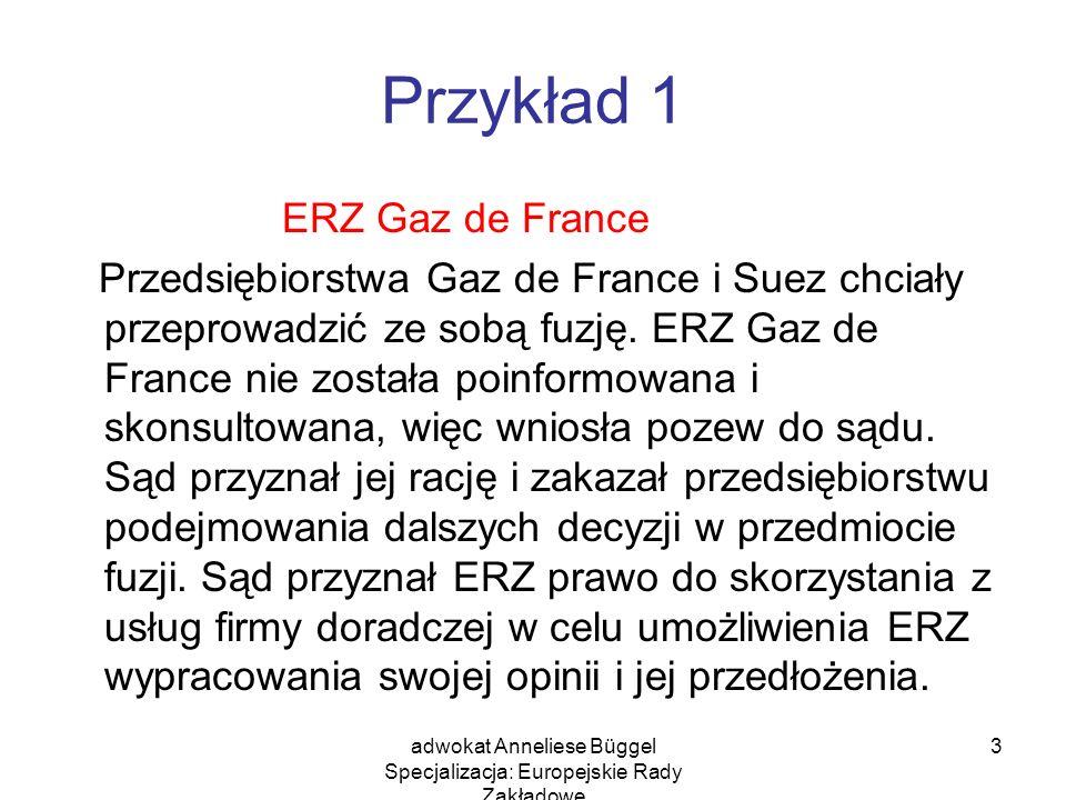 adwokat Anneliese Büggel Specjalizacja: Europejskie Rady Zakładowe 3 Przykład 1 ERZ Gaz de France Przedsiębiorstwa Gaz de France i Suez chciały przepr