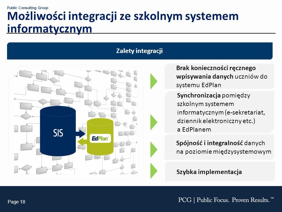 Page 18 Public Consulting Group Automatic Data Import Możliwości integracji ze szkolnym systemem informatycznym Synchronizacja pomiędzy szkolnym syste