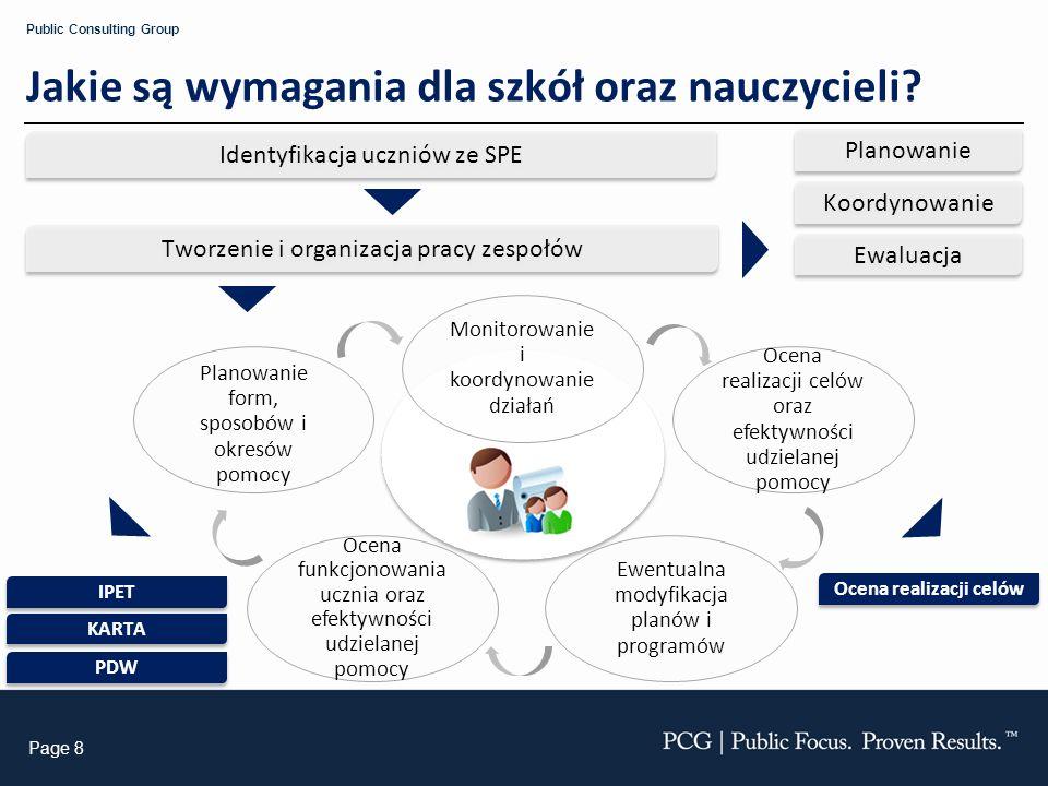 Page 8 Public Consulting Group Jakie są wymagania dla szkół oraz nauczycieli? Identyfikacja uczniów ze SPE Tworzenie i organizacja pracy zespołów Plan