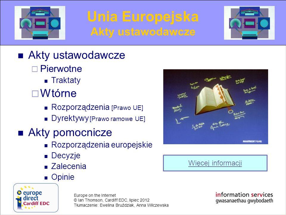 Europe on the Internet © Ian Thomson, Cardiff EDC, lipiec 2012 Tłumaczenie: Ewelina Bruździak, Anna Wilczewska Akty ustawodawcze Pierwotne Traktaty Wt