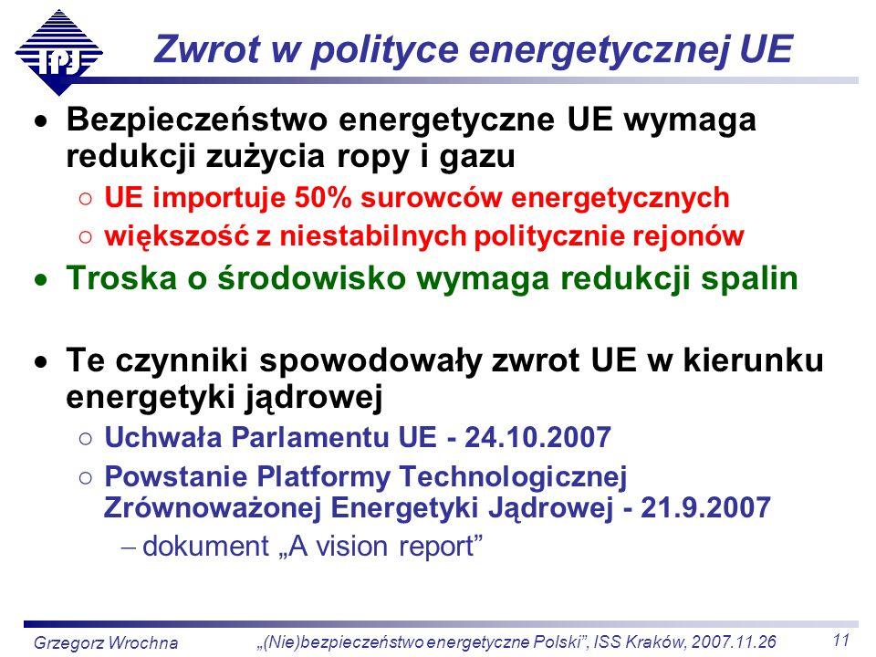 11 (Nie)bezpieczeństwo energetyczne Polski, ISS Kraków, 2007.11.26 Grzegorz Wrochna Zwrot w polityce energetycznej UE Bezpieczeństwo energetyczne UE w