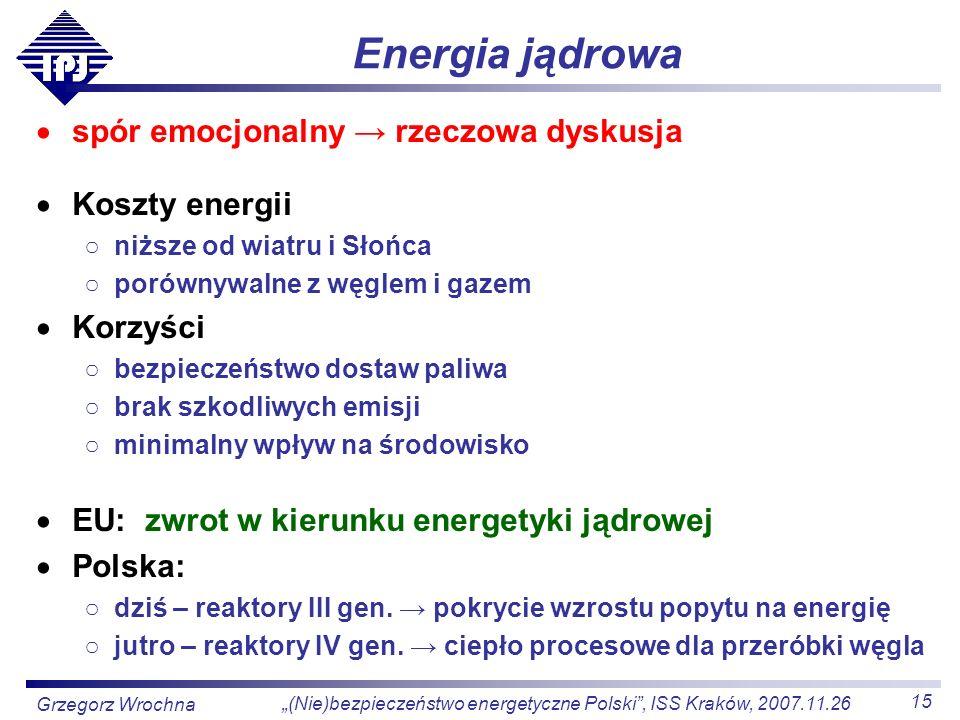 15 (Nie)bezpieczeństwo energetyczne Polski, ISS Kraków, 2007.11.26 Grzegorz Wrochna Energia jądrowa spór emocjonalny rzeczowa dyskusja Koszty energii