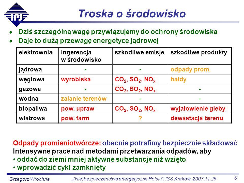 6 (Nie)bezpieczeństwo energetyczne Polski, ISS Kraków, 2007.11.26 Grzegorz Wrochna Troska o środowisko Dziś szczególną wagę przywiązujemy do ochrony ś