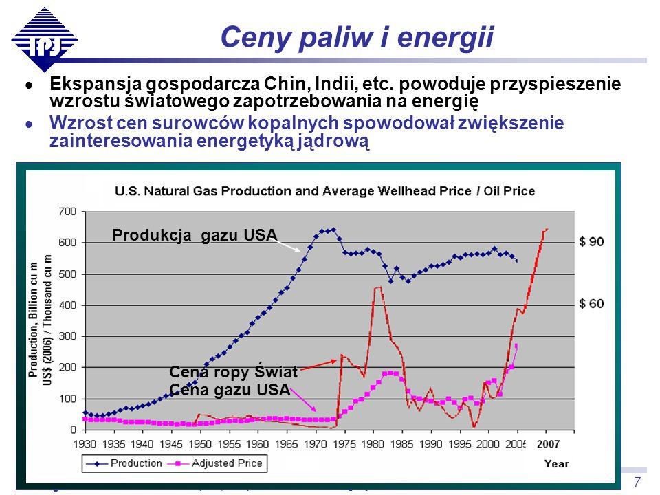 7 (Nie)bezpieczeństwo energetyczne Polski, ISS Kraków, 2007.11.26 Grzegorz Wrochna Ceny paliw i energii Ekspansja gospodarcza Chin, Indii, etc. powodu