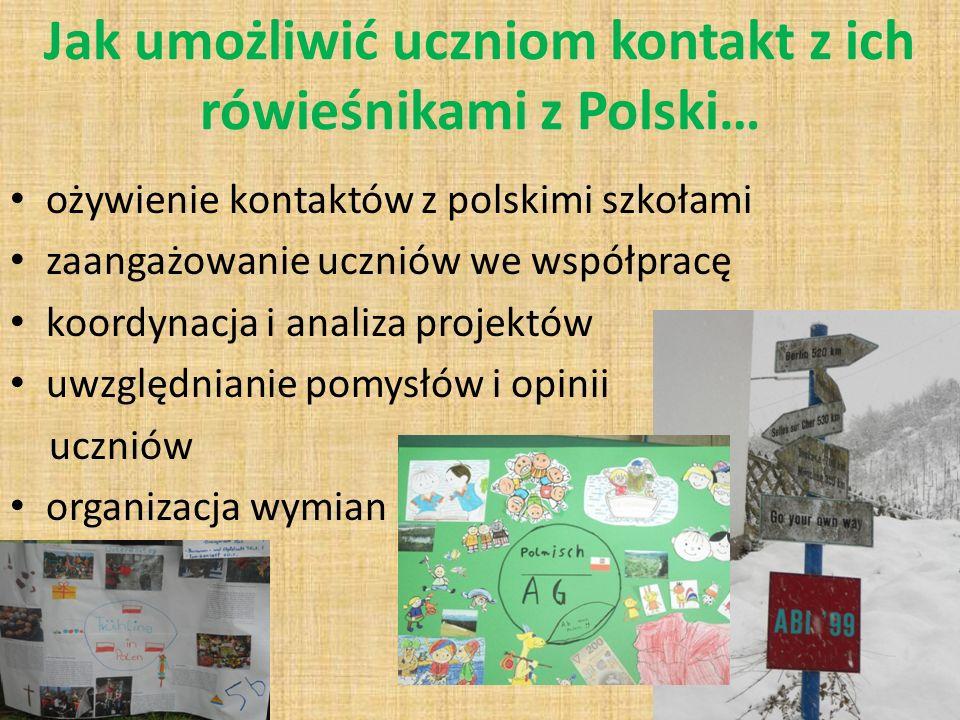 Jak umożliwić uczniom kontakt z ich rówieśnikami z Polski… ożywienie kontaktów z polskimi szkołami zaangażowanie uczniów we współpracę koordynacja i analiza projektów uwzględnianie pomysłów i opinii uczniów organizacja wymian