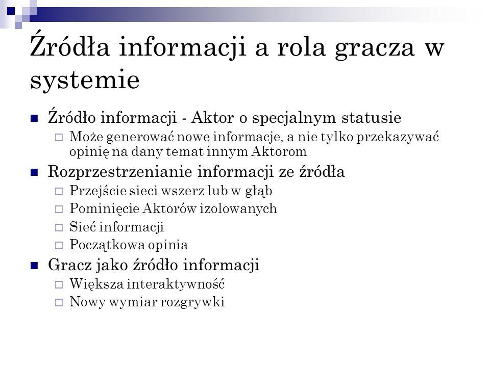 Źródła informacji a rola gracza w systemie Źródło informacji - Aktor o specjalnym statusie Może generować nowe informacje, a nie tylko przekazywać opi