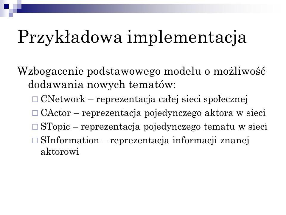 Przykładowa implementacja Wzbogacenie podstawowego modelu o możliwość dodawania nowych tematów: CNetwork – reprezentacja całej sieci społecznej CActor