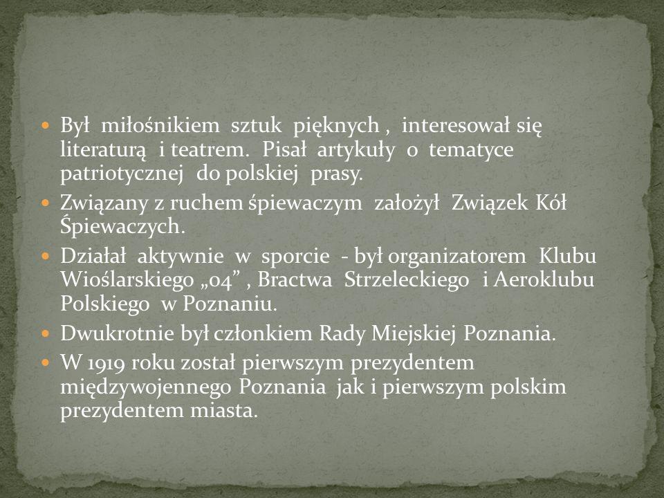 Był miłośnikiem sztuk pięknych, interesował się literaturą i teatrem. Pisał artykuły o tematyce patriotycznej do polskiej prasy. Związany z ruchem śpi