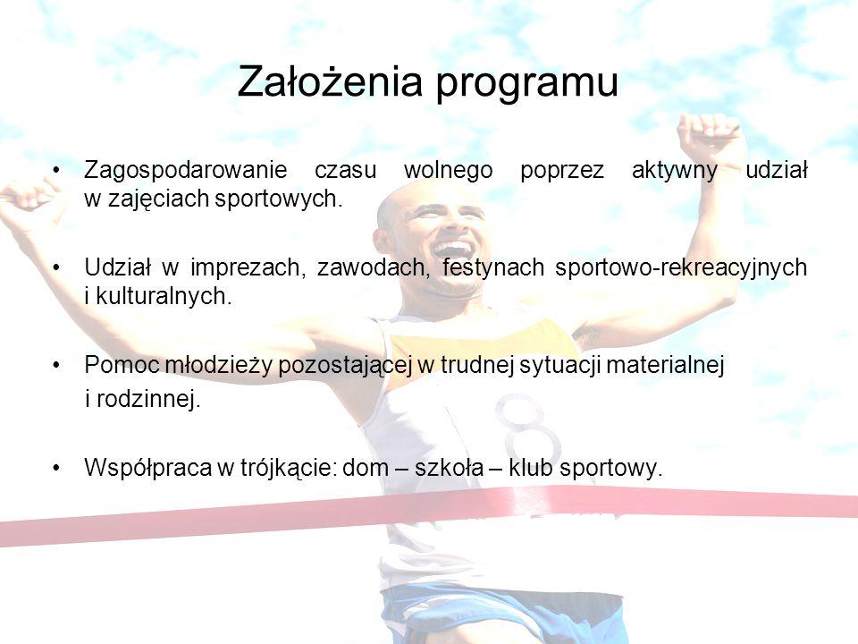 Założenia programu Zagospodarowanie czasu wolnego poprzez aktywny udział w zajęciach sportowych. Udział w imprezach, zawodach, festynach sportowo-rekr