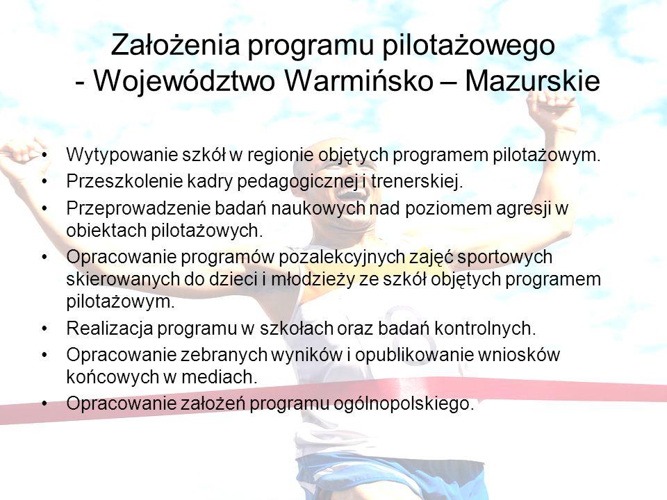 Założenia programu pilotażowego - Województwo Warmińsko – Mazurskie Wytypowanie szkół w regionie objętych programem pilotażowym. Przeszkolenie kadry p
