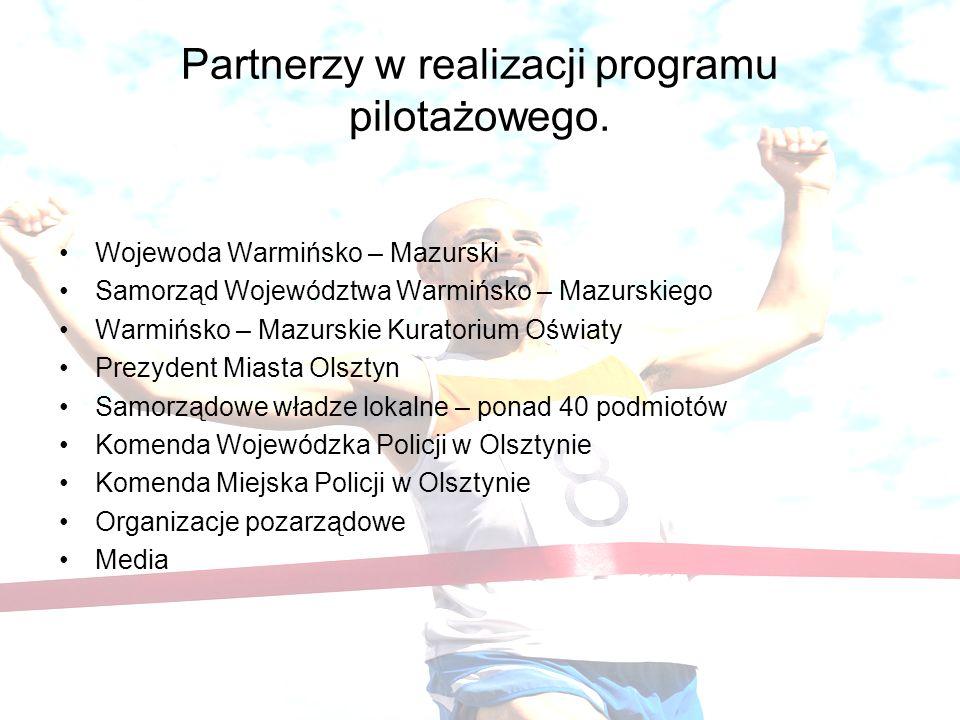 Partnerzy w realizacji programu pilotażowego. Wojewoda Warmińsko – Mazurski Samorząd Województwa Warmińsko – Mazurskiego Warmińsko – Mazurskie Kurator