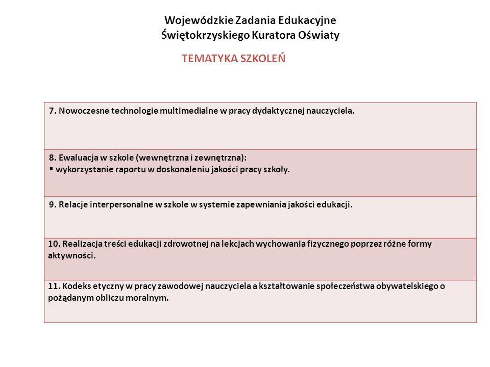 7. Nowoczesne technologie multimedialne w pracy dydaktycznej nauczyciela. 8. Ewaluacja w szkole (wewnętrzna i zewnętrzna): wykorzystanie raportu w dos