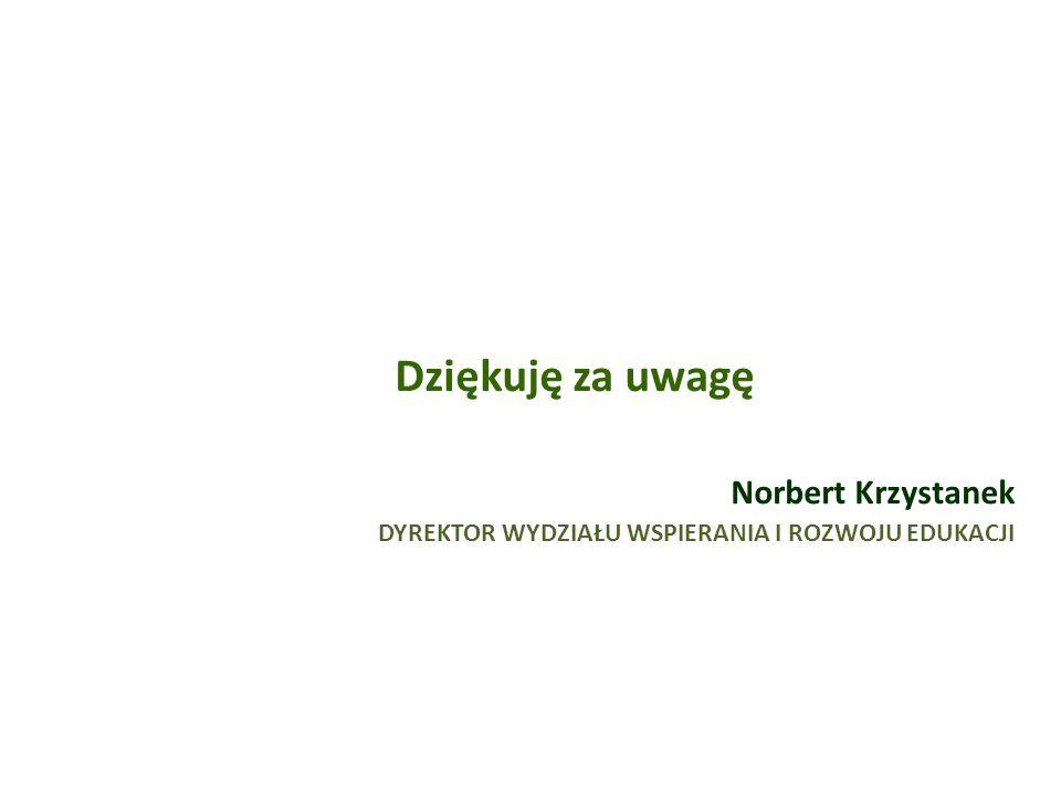 Dziękuję za uwagę Norbert Krzystanek DYREKTOR WYDZIAŁU WSPIERANIA I ROZWOJU EDUKACJI