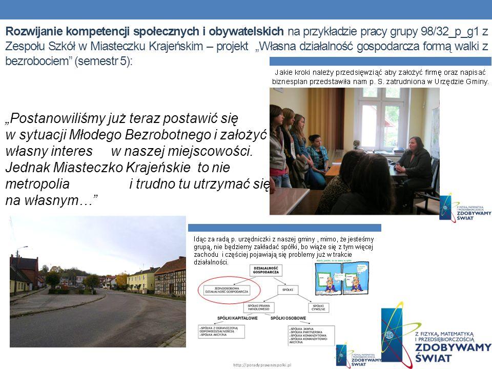 Rozwijanie kompetencji społecznych i obywatelskich na przykładzie pracy grupy 98/32_p_g1 z Zespołu Szkół w Miasteczku Krajeńskim – projekt Własna dzia