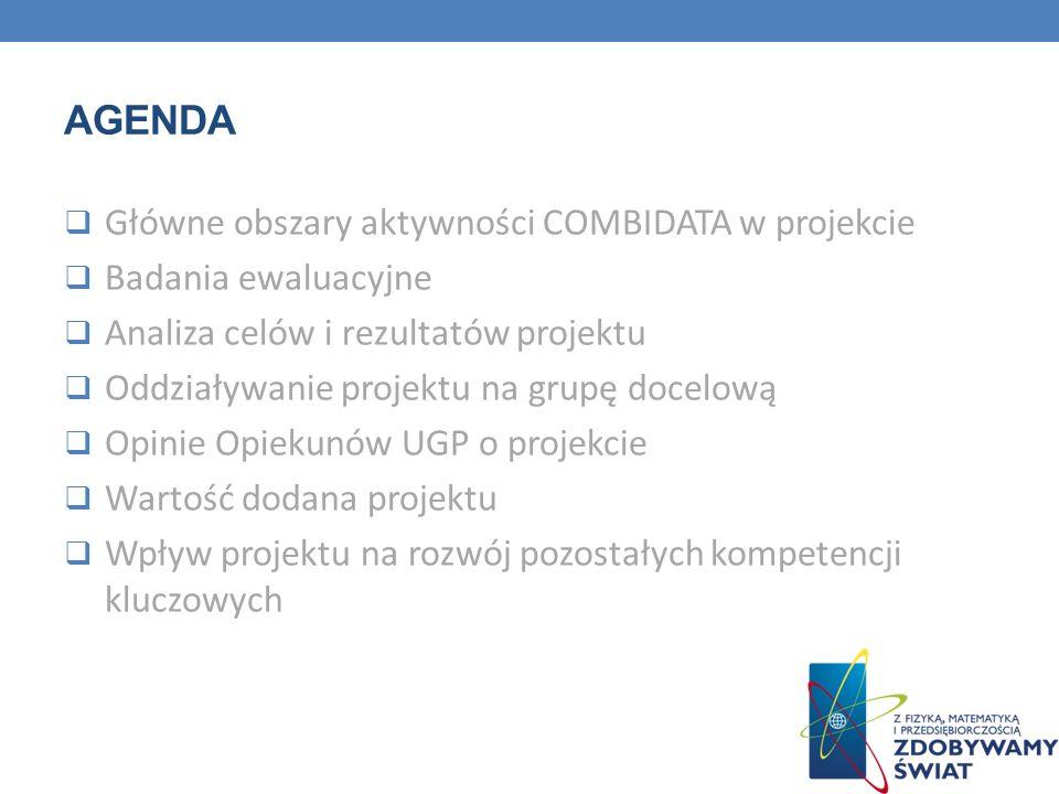 AGENDA Główne obszary aktywności COMBIDATA w projekcie Badania ewaluacyjne Analiza celów i rezultatów projektu Oddziaływanie projektu na grupę docelow