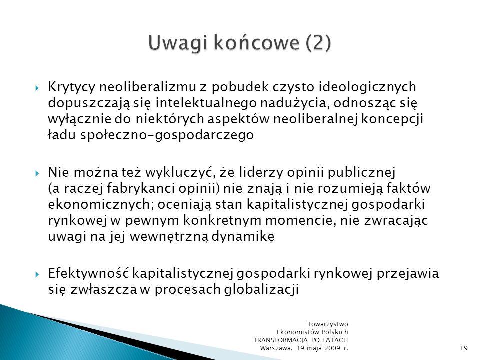 Ekwiwalentna wymiana rynkowa wszędzie tam, gdzie istnieją instytucjonalno-prawne warunki do jej prowadzenia, przewyższa inne formy koordynacji działań gospodarczych Wolny rynek i konkurencja jako postępowanie odkrywcze rozwiązują w optymalny sposób problemy asymetrii informacyjnej w gospodarce i rozproszenia wiedzy w społeczeństwie opartym na rozwiniętym podziale pracy Towarzystwo Ekonomistów Polskich TRANSFORMACJA PO LATACH Warszawa, 19 maja 2009 r.20