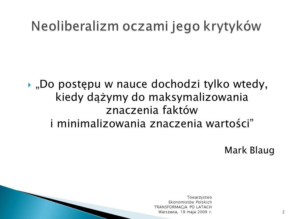 Plan wystąpienia I.Pojęcie i charakterystyka neoliberalizmu II.