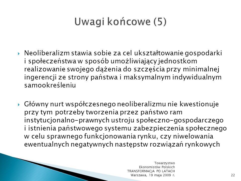 W neoliberalnej koncepcji ładu społeczno-gospodarczego zasadnicze znaczenie przypisuje się nie ograniczaniu zakresu bezpośredniej interwencji państwa w autonomiczną sferę rynku, lecz przede wszystkim tworzeniu i rozwijaniu ramowych warunków gospodarowania (instytucjonalnych i prawnych), gwarantujących sprawne funkcjonowanie mechanizmu rynkowego oraz wolność jednostkową i gospodarczą Towarzystwo Ekonomistów Polskich TRANSFORMACJA PO LATACH Warszawa, 19 maja 2009 r.23