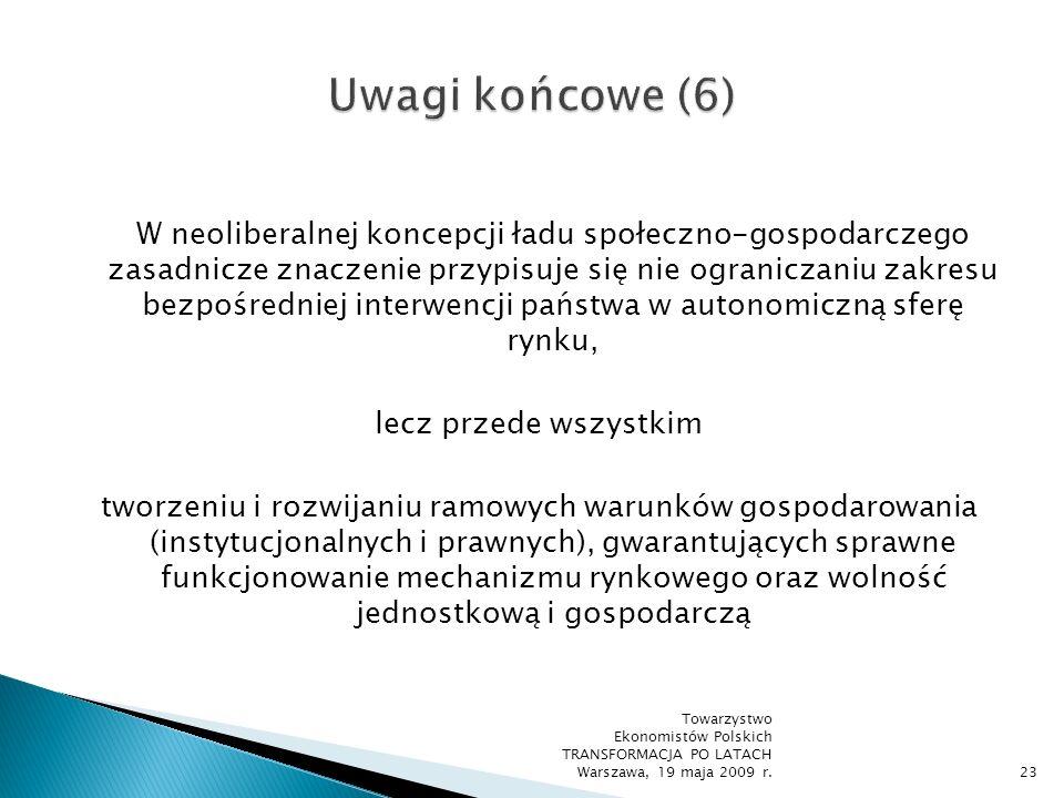 Skuteczna obrona wolności musi być niezłomna, dogmatyczna i doktrynalna i nie może czynić ustępstw na rzecz rozważań o jej celowości Friedrich von Hayek Towarzystwo Ekonomistów Polskich TRANSFORMACJA PO LATACH Warszawa, 19 maja 2009 r.24