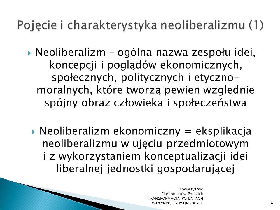 Geneza myśli neoliberalnej: klasyczny liberalizm ekonomiczny i polityczny w wersji sformułowanej zwłaszcza przez Adama Smitha i Johna Lockea idee XV- i XVI-wiecznej scholastycznej filozofii ekonomii (tzw.