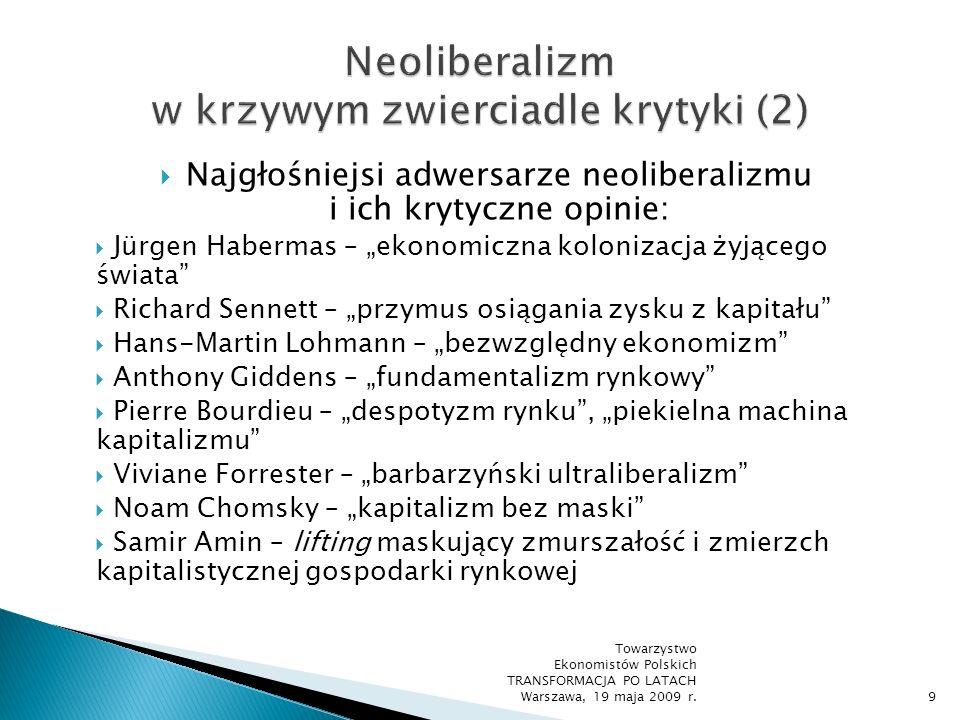 Zarzuty wobec neoliberalizmu (ciąg dalszy): wrogie wobec społeczeństwa założenie o autonomicznym, racjonalnie funkcjonującym podmiocie gospodarczym normatywna mizeria instytucji rynku i jego społeczna niewrażliwość nieograniczona żądza zysku i posiadania pozbawione jakichkolwiek uczuć anonimowe procesy rynkowe iluzoryczna wiara w stabilność i harmonię życia społecznego Towarzystwo Ekonomistów Polskich TRANSFORMACJA PO LATACH Warszawa, 19 maja 2009 r.10