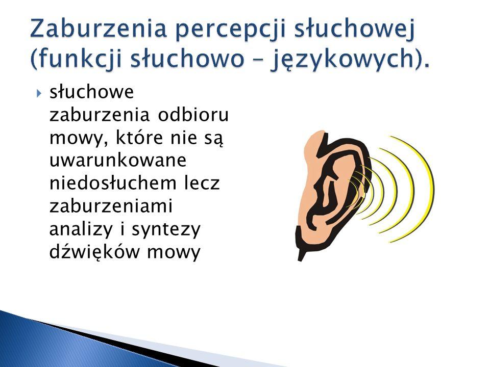 słuchowe zaburzenia odbioru mowy, które nie są uwarunkowane niedosłuchem lecz zaburzeniami analizy i syntezy dźwięków mowy