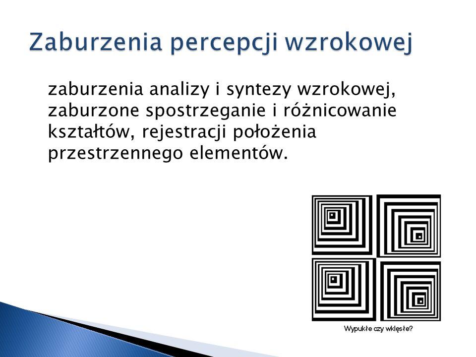 zaburzenia analizy i syntezy wzrokowej, zaburzone spostrzeganie i różnicowanie kształtów, rejestracji położenia przestrzennego elementów.