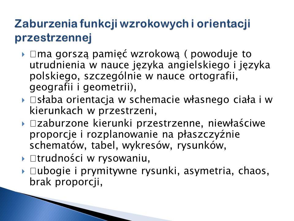 —ma gorszą pamięć wzrokową ( powoduje to utrudnienia w nauce języka angielskiego i języka polskiego, szczególnie w nauce ortografii, geografii i geome