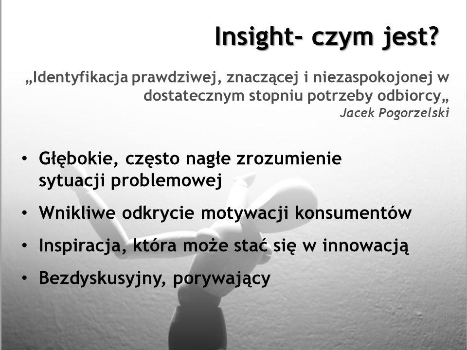 Insight- czym jest? Identyfikacja prawdziwej, znaczącej i niezaspokojonej w dostatecznym stopniu potrzeby odbiorcy Jacek Pogorzelski Głębokie, często