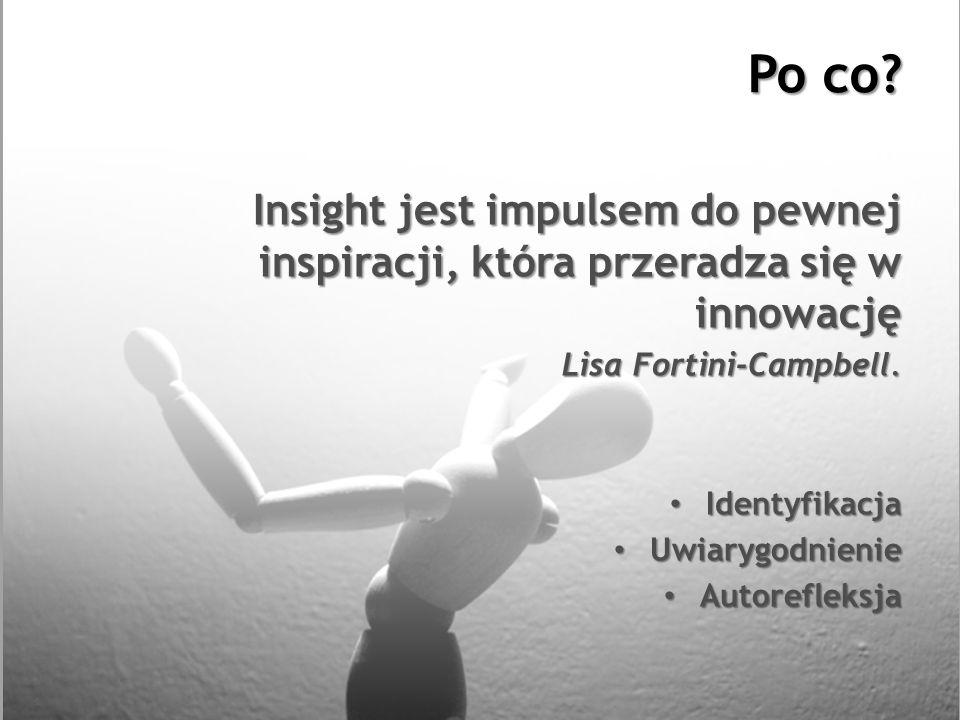 Po co? Insight jest impulsem do pewnej inspiracji, która przeradza się w innowację Lisa Fortini-Campbell. Identyfikacja Identyfikacja Uwiarygodnienie