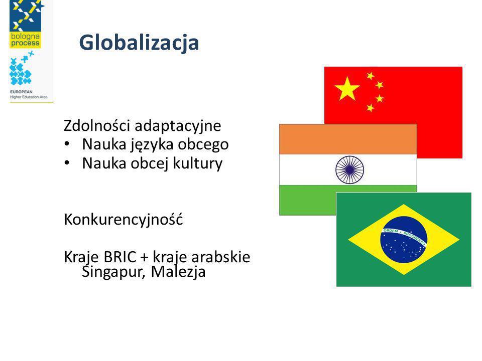 Zdolności adaptacyjne Nauka języka obcego Nauka obcej kultury Konkurencyjność Kraje BRIC + kraje arabskie Singapur, Malezja