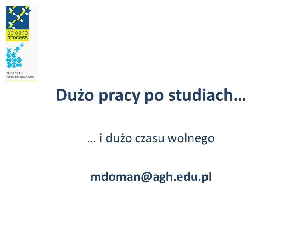 Dużo pracy po studiach… … i dużo czasu wolnego mdoman@agh.edu.pl