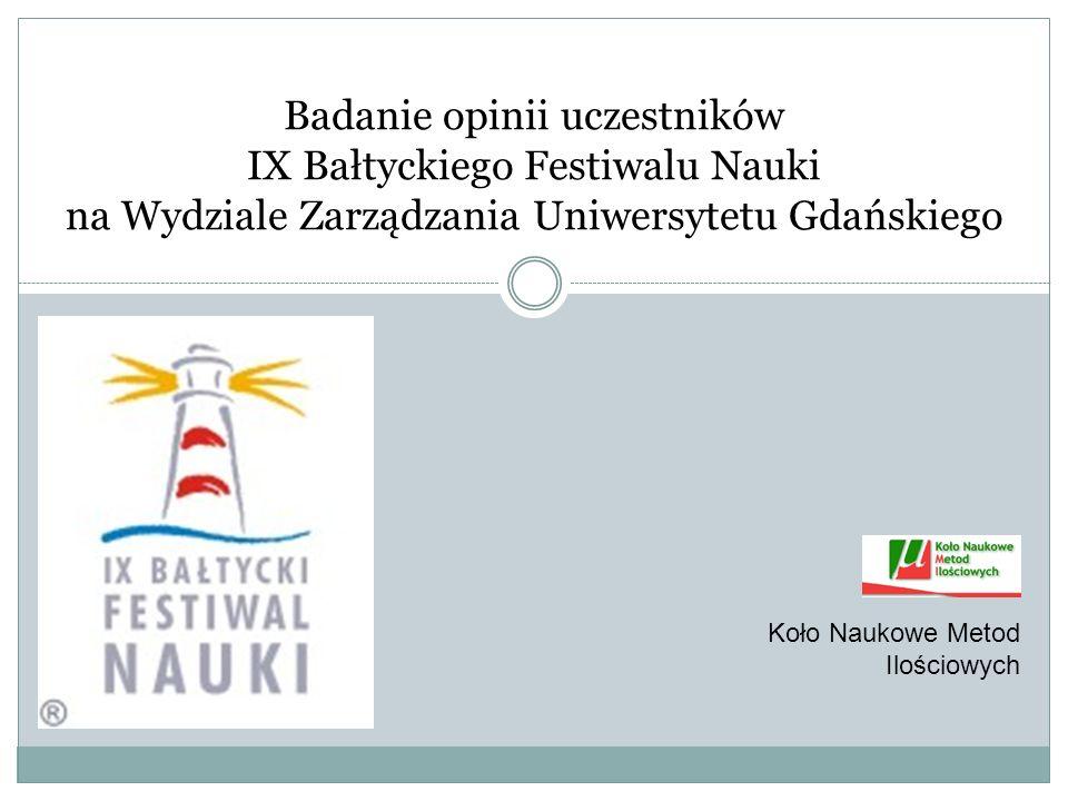 Cele badania: Poznanie opinii uczestników IX Bałtyckiego Festiwalu Nauki na Wydziale Zarządzania UG, dotyczących organizacji imprezy; Pozyskanie informacji o preferowanej przez uczestników formie i tematyce imprez organizowanych w ramach BFN; Określenie profilu osób, biorących udział w imprezach z okazji BFN na Wydziale Zarządzania UG.