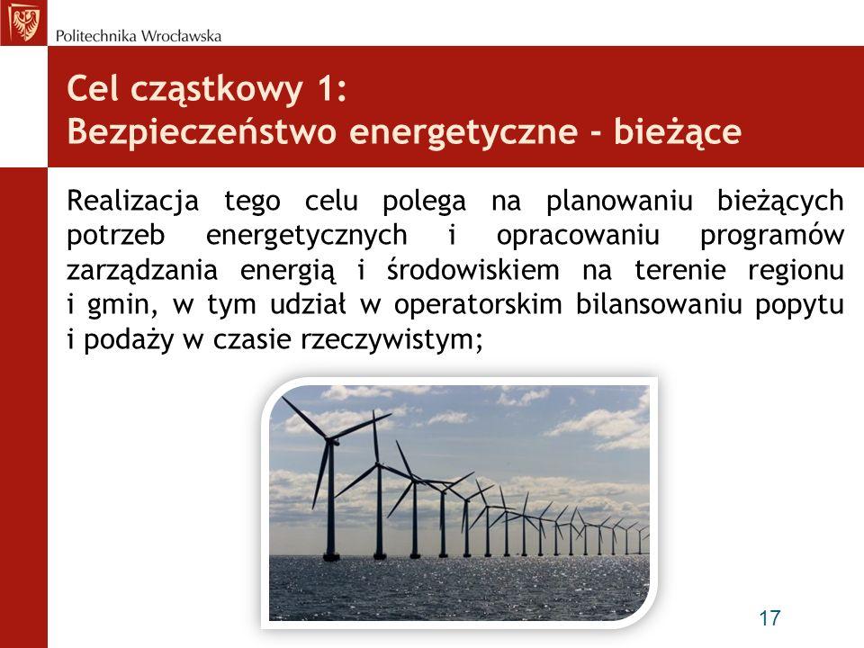 Cel cząstkowy 1: Bezpieczeństwo energetyczne - bieżące Realizacja tego celu polega na planowaniu bieżących potrzeb energetycznych i opracowaniu progra