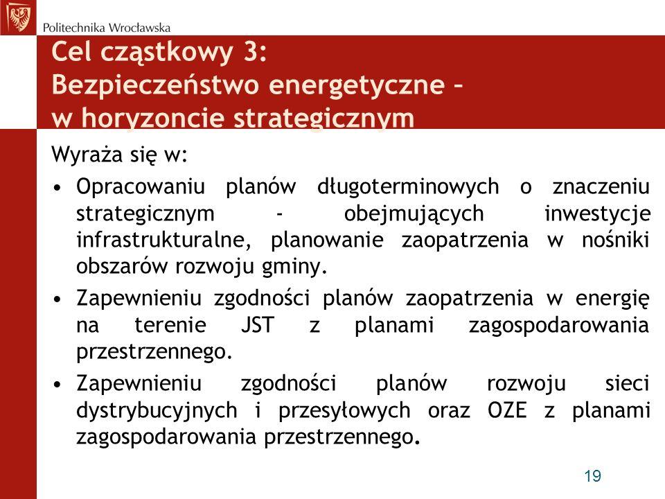 Cel cząstkowy 3: Bezpieczeństwo energetyczne – w horyzoncie strategicznym Wyraża się w: Opracowaniu planów długoterminowych o znaczeniu strategicznym