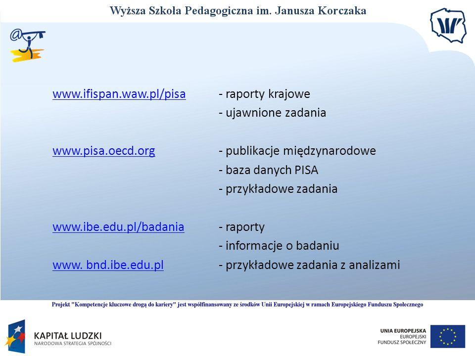 www.ifispan.waw.pl/pisawww.ifispan.waw.pl/pisa - raporty krajowe - ujawnione zadania www.pisa.oecd.orgwww.pisa.oecd.org - publikacje międzynarodowe -