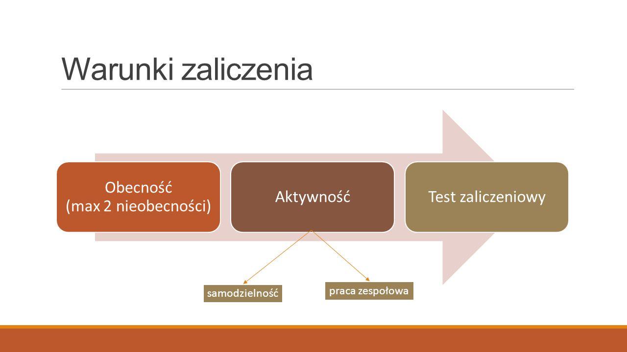 Warunki zaliczenia Obecność (max 2 nieobecności) AktywnośćTest zaliczeniowy samodzielność praca zespołowa