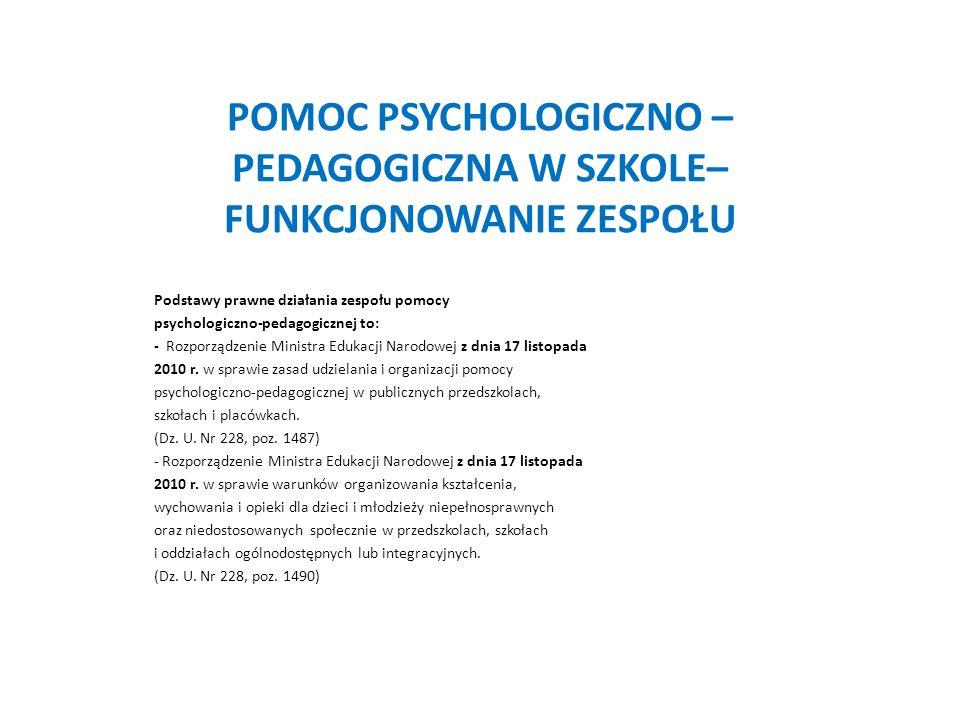 POMOC PSYCHOLOGICZNO – PEDAGOGICZNA W SZKOLE– FUNKCJONOWANIE ZESPOŁU Podstawy prawne działania zespołu pomocy psychologiczno-pedagogicznej to: - Rozpo
