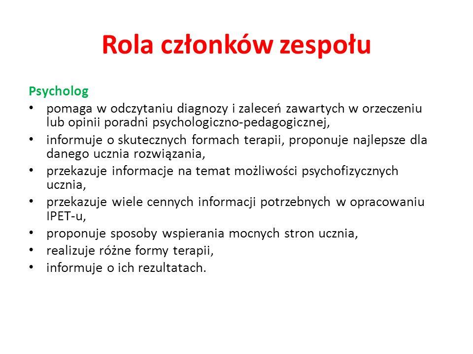 Rola członków zespołu Psycholog pomaga w odczytaniu diagnozy i zaleceń zawartych w orzeczeniu lub opinii poradni psychologiczno-pedagogicznej, informu