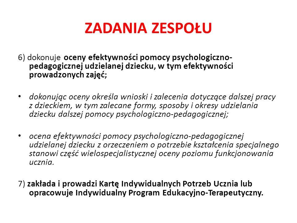 ZADANIA ZESPOŁU 6) dokonuje oceny efektywności pomocy psychologiczno- pedagogicznej udzielanej dziecku, w tym efektywności prowadzonych zajęć; dokonuj
