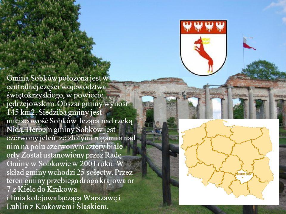 Gmina Sobków położona jest w centralnej części województwa świętokrzyskiego, w powiecie jędrzejowskim. Obszar gminy wynosi 145 km2. Siedzibą gminy jes