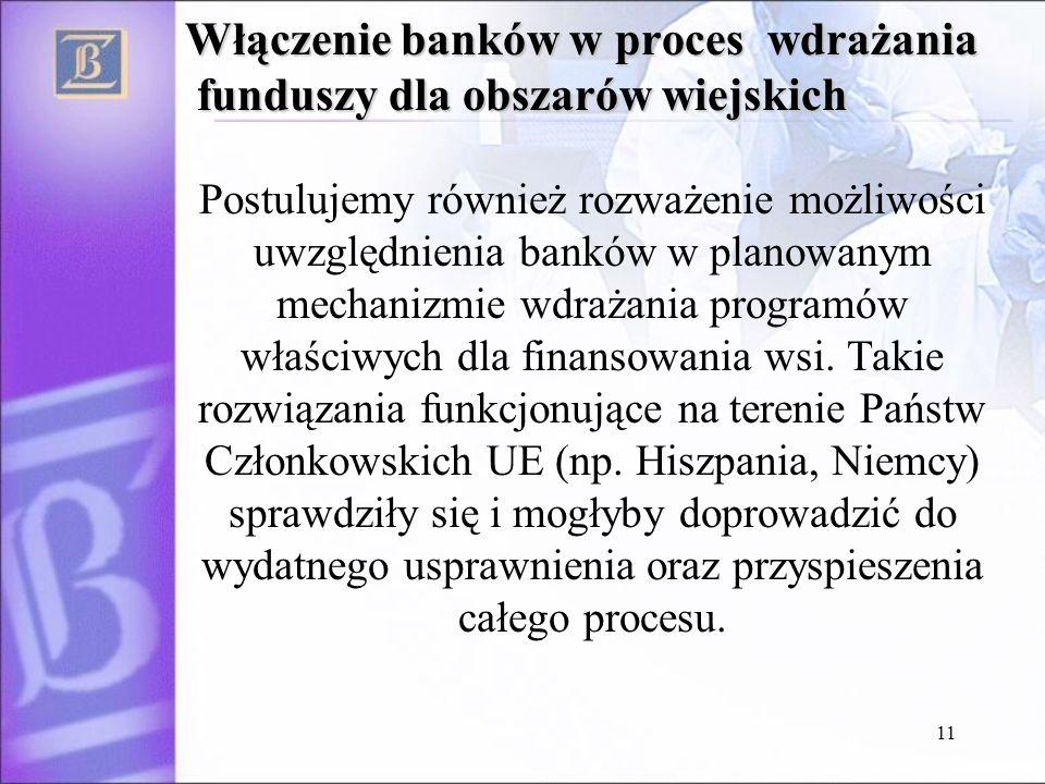 11 Włączenie banków w proces wdrażania funduszy dla obszarów wiejskich Postulujemy również rozważenie możliwości uwzględnienia banków w planowanym mechanizmie wdrażania programów właściwych dla finansowania wsi.