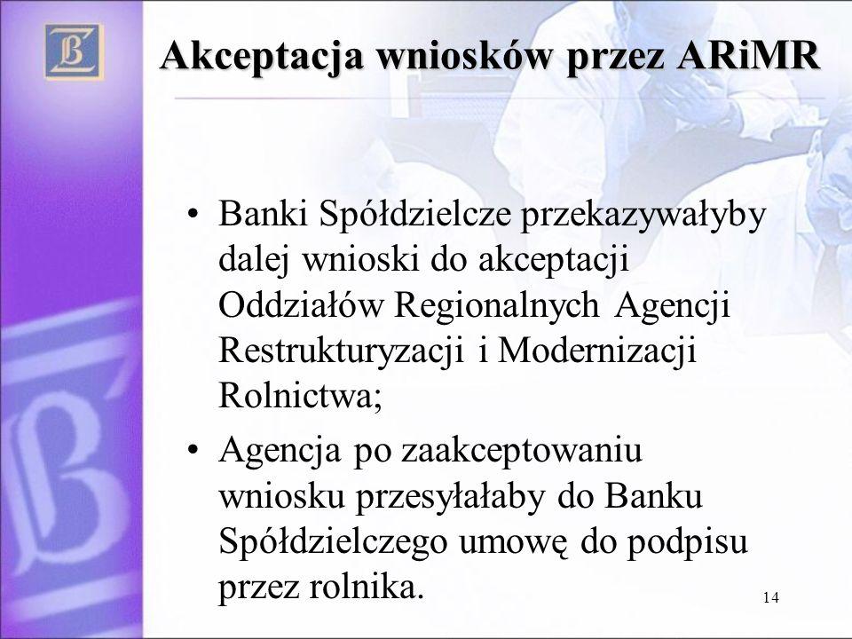14 Akceptacja wniosków przez ARiMR Banki Spółdzielcze przekazywałyby dalej wnioski do akceptacji Oddziałów Regionalnych Agencji Restrukturyzacji i Modernizacji Rolnictwa; Agencja po zaakceptowaniu wniosku przesyłałaby do Banku Spółdzielczego umowę do podpisu przez rolnika.