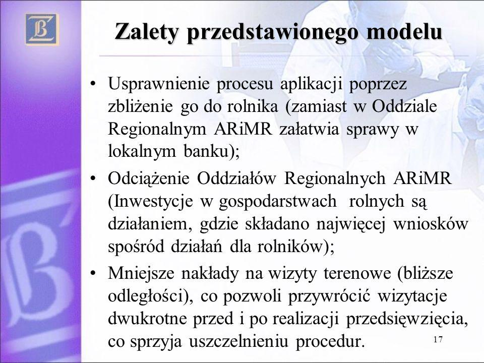 17 Zalety przedstawionego modelu Usprawnienie procesu aplikacji poprzez zbliżenie go do rolnika (zamiast w Oddziale Regionalnym ARiMR załatwia sprawy w lokalnym banku); Odciążenie Oddziałów Regionalnych ARiMR (Inwestycje w gospodarstwach rolnych są działaniem, gdzie składano najwięcej wniosków spośród działań dla rolników); Mniejsze nakłady na wizyty terenowe (bliższe odległości), co pozwoli przywrócić wizytacje dwukrotne przed i po realizacji przedsięwzięcia, co sprzyja uszczelnieniu procedur.