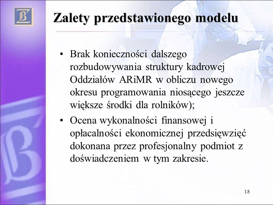 18 Zalety przedstawionego modelu Brak konieczności dalszego rozbudowywania struktury kadrowej Oddziałów ARiMR w obliczu nowego okresu programowania niosącego jeszcze większe środki dla rolników); Ocena wykonalności finansowej i opłacalności ekonomicznej przedsięwzięć dokonana przez profesjonalny podmiot z doświadczeniem w tym zakresie.