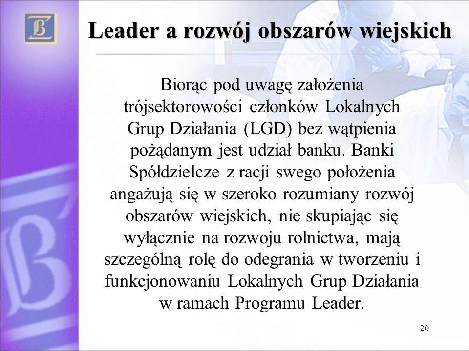 20 Leader a rozwój obszarów wiejskich Biorąc pod uwagę założenia trójsektorowości członków Lokalnych Grup Działania (LGD) bez wątpienia pożądanym jest udział banku.