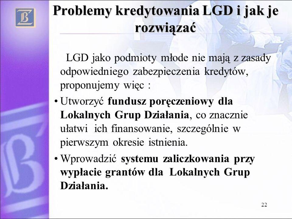 22 Problemy kredytowania LGD i jak je rozwiązać LGD jako podmioty młode nie mają z zasady odpowiedniego zabezpieczenia kredytów, proponujemy więc : Utworzyć fundusz poręczeniowy dla Lokalnych Grup Działania, co znacznie ułatwi ich finansowanie, szczególnie w pierwszym okresie istnienia.